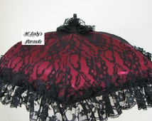 VICTORIAN PARASOL Umbrella in Deep Red Satin with Black Lace Overlay and Black Lace Ruffle Renaissance Mourning Steampunk Shower Goth