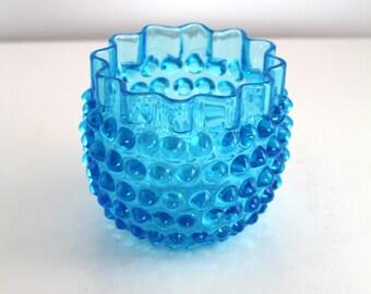 Antique Hobbs Brockunier Dewdrop Blue Spooner or open sugar