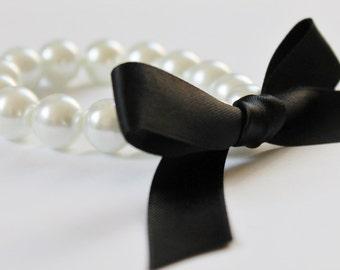 White Pearl and Black Ribbon Bracelet