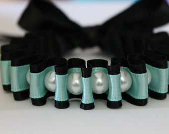 White Pearl with Black and Turquoise Ribbon Bella Bracelet