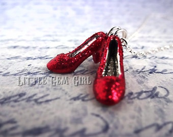 Wizard of Oz Ruby Red Slippers Charm Necklace - Miniature Sparkle Shoes - No Place Like Home