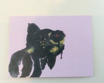 Black goldfish notecard