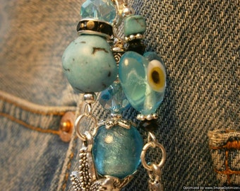 Evil Eye and Turtle Protection Bag Charm - Sky Blue Good Luck Purse Fob, Magnesite Turquoise, Dolphin, Starfish, Tortoise Key Ring