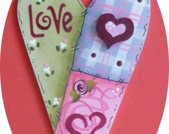 Heart Love Patchwork Valentine Pin/Magnet Hand Painted Wood