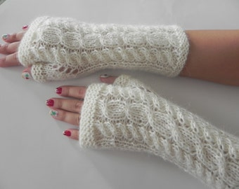 Alpaca Cream White Fingerless Gloves, Ivory Alpaca Wool Arm Warmers, Hand Knitted Winter Gloves, Gift for Her, Eco Friendly,