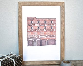 Liverpool Fireproof Depository Print - Liverpool architecture drawing - Toxteth, Liverpool - derelict building art - Park Road Liverpool
