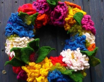 MADE TO ORDER felted wool flower wreath, handmade ornament, decoration, spring, summer, handmade, felted art to wear