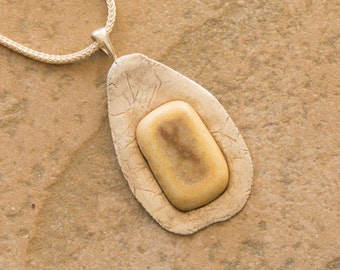 PMC Silver Clay Pendant with porcelain stone.