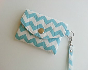 ID Wallet Key Chain Quilted  in Blue and White Chevron
