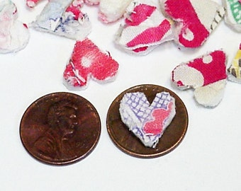 Primitive Heart Appliques, Vintage Shabby Feedsack Cutter Quilt Tiny Itty Bitty Prim Old Patchwork Embellishments itsyourcountry