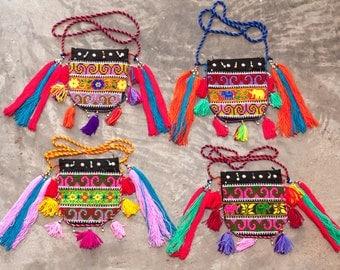 Mien Half-Moon Bag /Yao Half Moon Bag /Tribal /Ethnic /Wholesale/Bohemian/Homemade craft/Tribal bag/Tribal fabric/Tassels bag