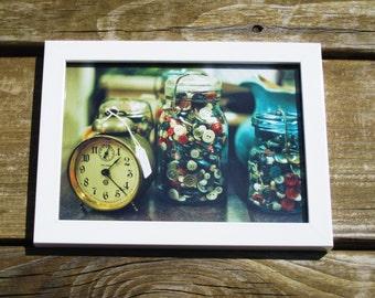Vintage Buttons -- Framed 5x7 Print