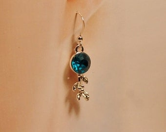 Teal Czech Glass Earrings 10mm stone and Adjustable Ring Silvertone Nickel Free, Lead Free
