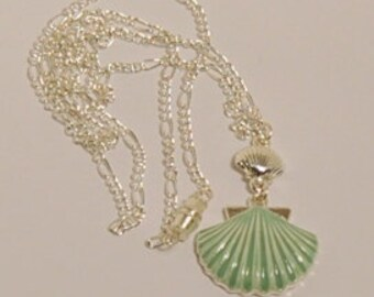 Seashell necklace Sunbleached Turquoise Martha Stewart Silvertone Long Chain lead Free Nickle Free