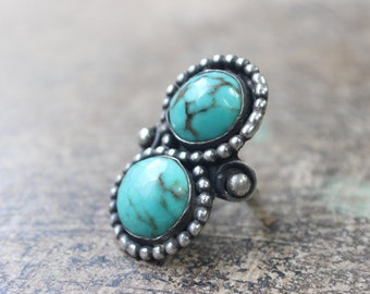 Large Turquoise RING / 1950's to 1960's Jewelry / Southwest Sterling Silver Lemniscate Ring