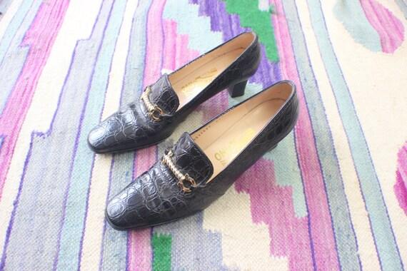 SALE 7 1/2 A Salvatore Ferragamo Crocodile Print Pumps / Women's Vintage Heeled Loafers / Shoes