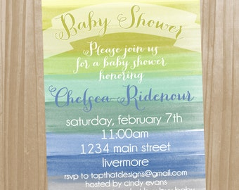 Watercolor Baby Boy Shower Invitation- Digital