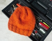 Alpaca Men's Hat - Hand Knit Orange Slouchy Wool Winter Hat for all your Dudes Outdoor Activities (One Size - Ready to Ship)