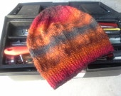 Men's Wool Hat (One-size - Made to Order) - Trendy Hand Knit Orange Red Grey Striped Fall Autumn Winter Hiking Skiing Snowboarding