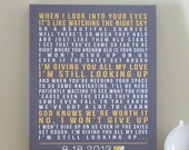Personalized Gift for Her / Him, CANVAS Art (song lyrics, wedding song, first dance, wedding vows) gray and yellow, custom colors