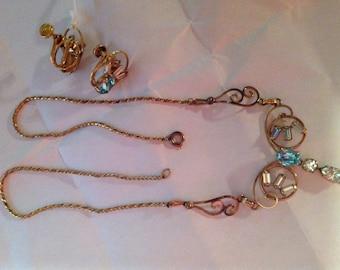 Sale Vintage Loran Sim 1/20-12k GF Necklace and Screw Back Earrings (1746)