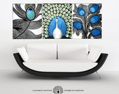 Reserved for Vipul PROUD - embellished peacock giclée canvas prints