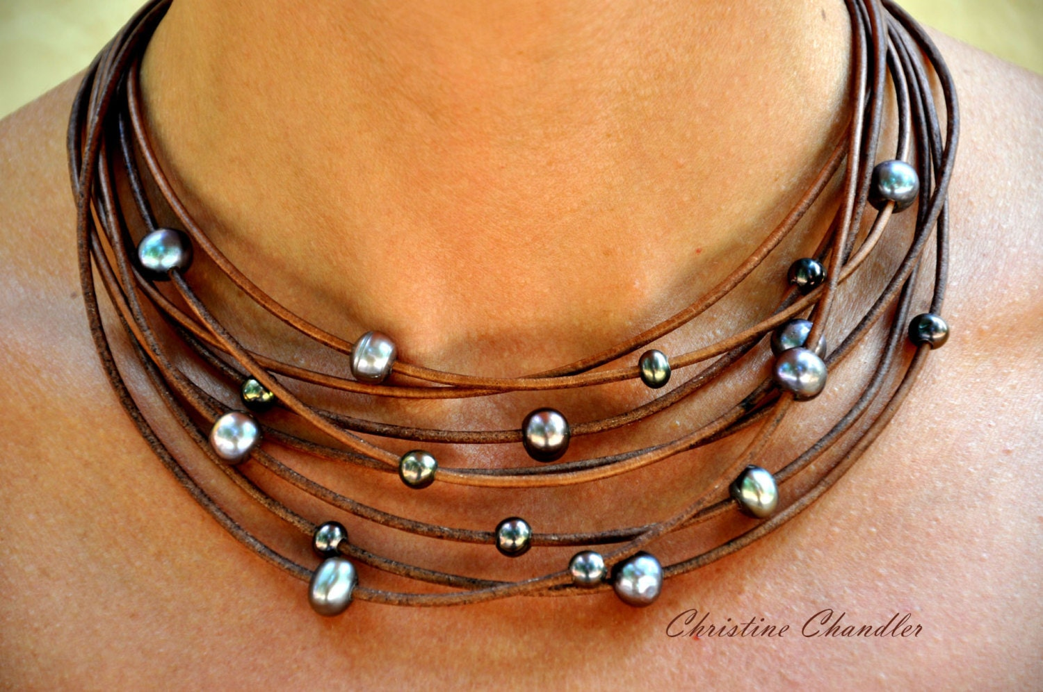 pearl and leather necklace multi strand brown with peacock