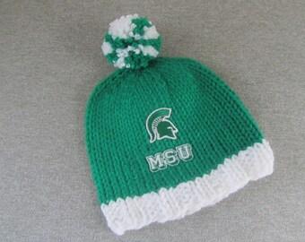 MICHIGAN STATE Hand Knit Baby Hat - MSU Spartans Baby Hat - Michigan State Hand Knitted Baby Hat