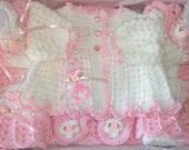 Crochet Baby Girl Sweater Set Leggings Booties and Blanket Layette Perfect For Baby Shower Gift or Newborn Coming Home outfit