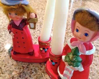 Vintage Napco boy and girl candle holders christmas tree and lantern