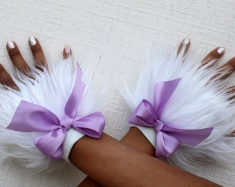 Furry Arm Warmers Cuffs Fluffies Furries with Bow (Choose your color)