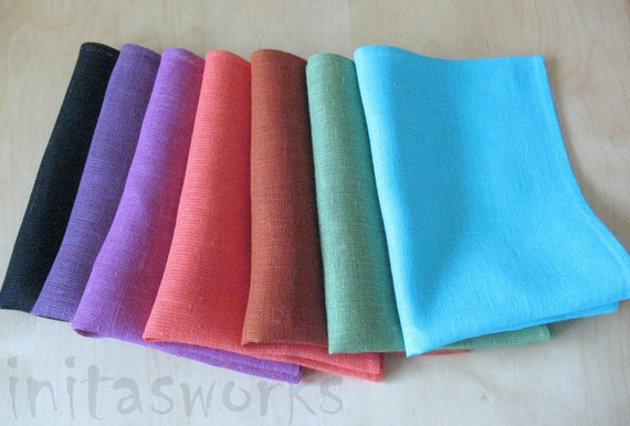 "Linen Napkin Serviette Rustic Burlap Turquoise Blue Pink Purple Orange Brown Black set of 6 - Flax - 17.3"" x 11.8""  size"
