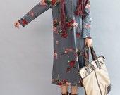 Bloom/ Loose Long sleeved Long dress/ Fashion large size maxi dress