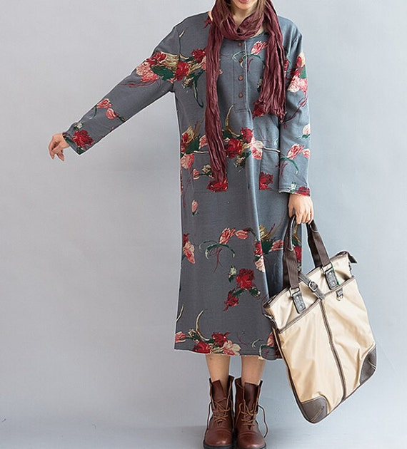 Bloom/ Loose Long sleeved Long dress/ Fashion large size maxi dress