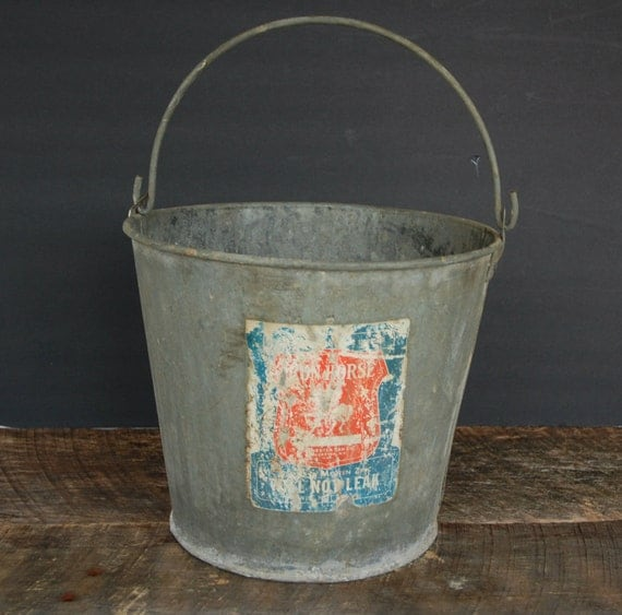 Vintage galvanized bucket with handle by cheryl12108 on etsy for Galvanized well bucket