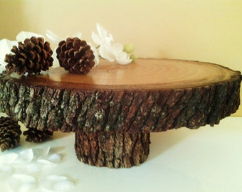 "TREASURY ITEM - 15"" Rustic cake stand - Rustic wedding decor - Wood cake stand  - Centerpiece - Home decor - Holiday cake stand"