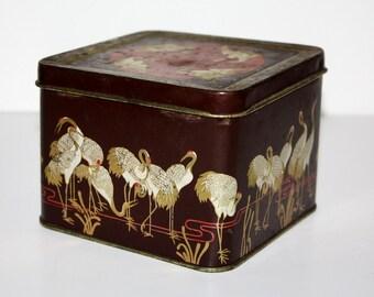Antique Tin with Cranes Art Nouveau