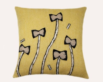 "Decorative Pillow Case, pure Yellow Mohair Wool fabric Throw pillow case with Yarn embellishment,  fits 18""x 18"" insert, Home Decor"