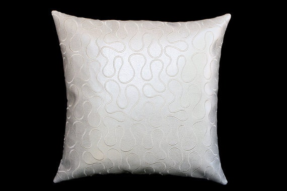 White Leather Throw Pillow : Decorative Pillow Case Off White faux Leather with Embroidery