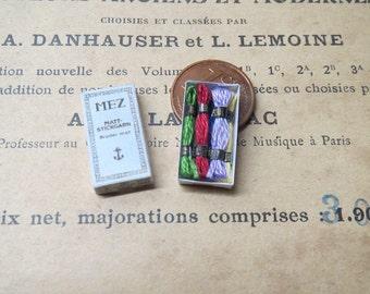 Dollhouse Miniature box Mez embroidery thread