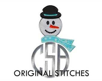Snowman Monogram Dressing Applique and Embroidery Digital Design File 4x4 5x7 6x10 7x11
