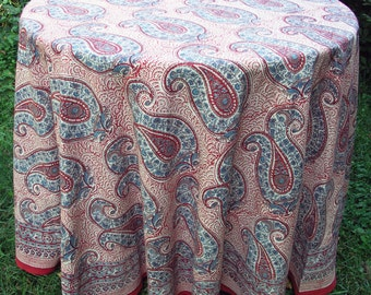 """Hand Block Printed Tablecloth - Russian Paisley Red - 89"""" round"""