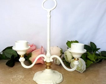 French white enamel candle holder, candelabra, for two candles