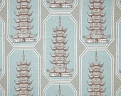 "Two 96"" x 50""  Custom Curtain Panels -  Pagoda Shen -   Snowy - Super Special"