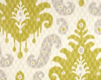 "Two  96"" x 50""  Custom Curtain Panels  - Large Ikat - Citrine Grey Ivory - NEW"