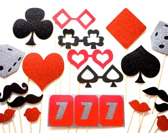 Lucky 7's Vegas Collection ~ RED ~ Set of 19 Photo Booth Props with Glitter ~ Casino Props ~ Trivia Night