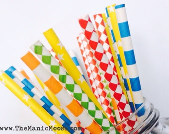 Set of 25 Colorful Patterned Straws ~ Perfect for CIRCUS themed parties!