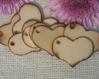 Set of 10  wedding rustic burned wood heart tags