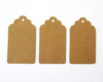 Scalloped top edged brown kraft card decorative parcel gift tags - 30x60mm, 40x70mm, 80x120mm