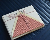 Merci Red and Cream Chevron Note Card with Lined Envelope - Set of 8